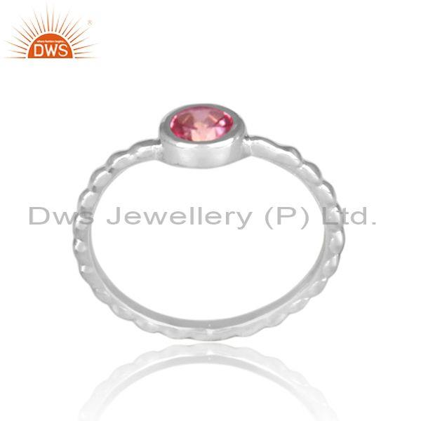 Round cut pink topaz fine silver handmade twisted fancy ring