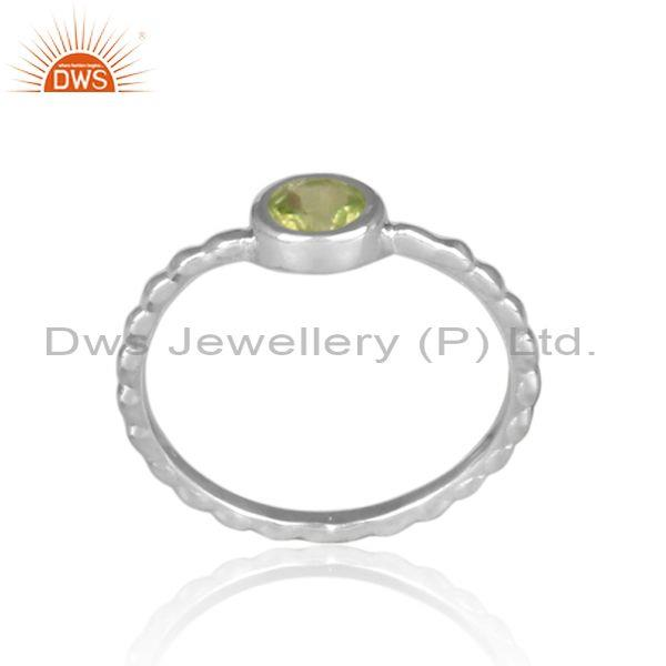 Round cut peridot fine silver handmade twisted fancy ring