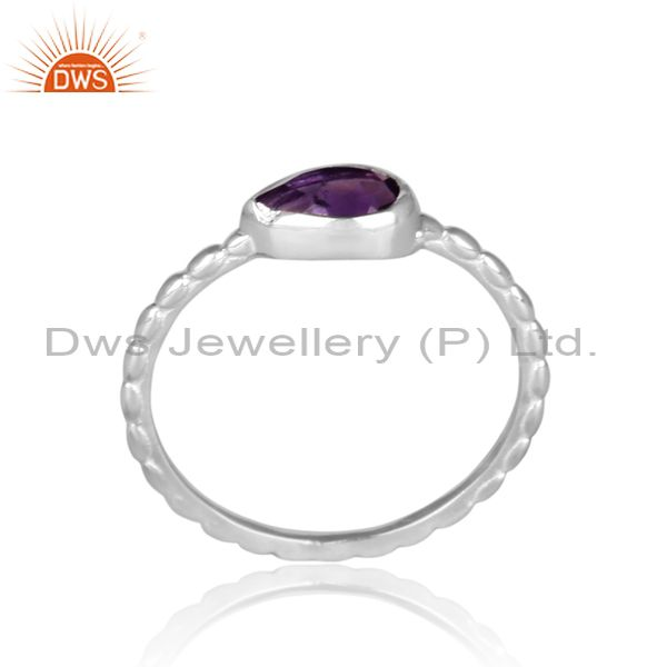 Triangular amethyst set fine silver handmade twisted ring