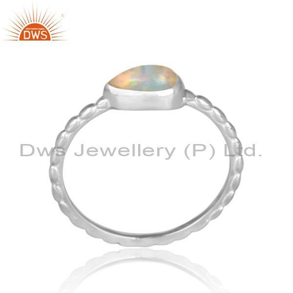 Triangular ethiopian opal fine silver handmade twisted ring