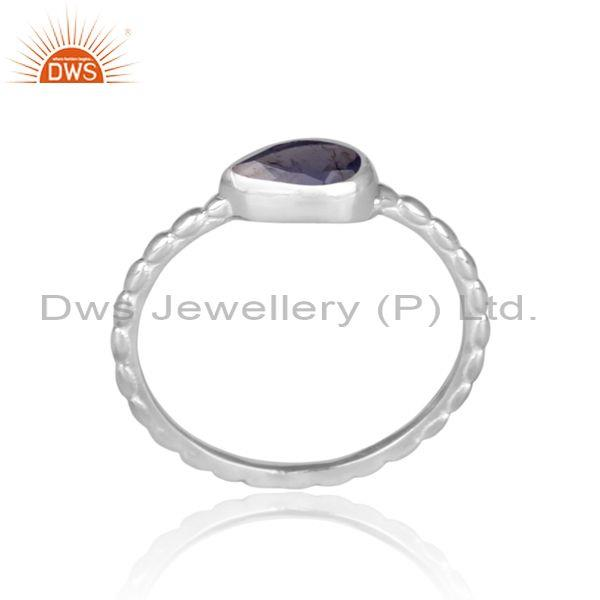 Triangular iolite set fine 925 silver handmade twisted ring