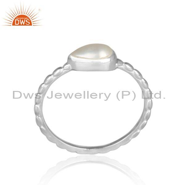 Triangular pearl set fine 925 silver handmade twisted ring