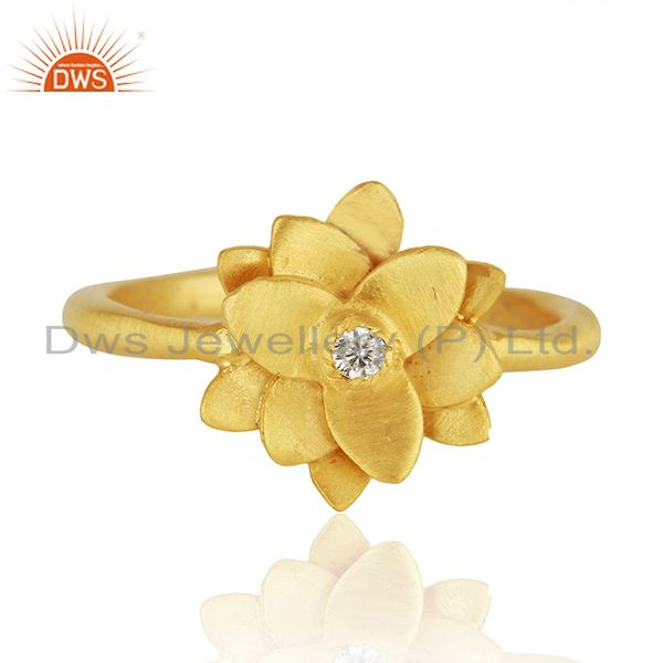 Floral Design 14k Gold Plated White Zircon Ring Jewelry Manufacturers