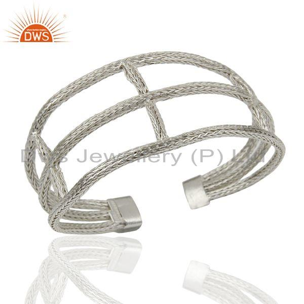 925 Sterling Silver Woven Chain Wide Cuff Bracelet Bangle Jewelry