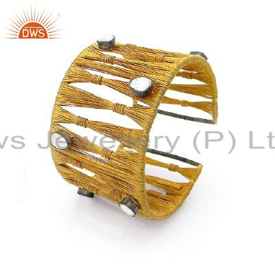 18k yellow gold plated sterling silver crystal polki woven wide cuff bracelet