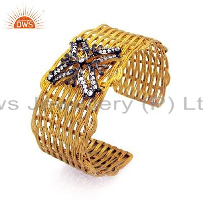 24K Gold Plated Sterling Silver White Zircon Wire Wrapped Bangle Cuff Bracelet