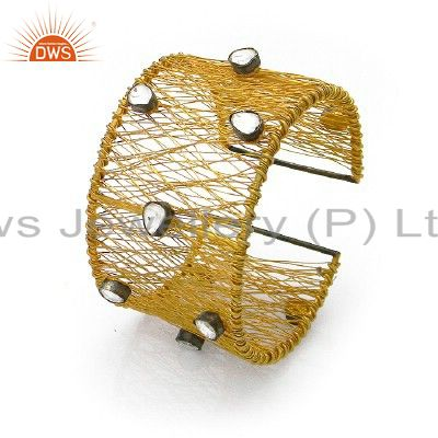 18k gold plated sterling silver crystal polki woven chain wide cuff bracelet