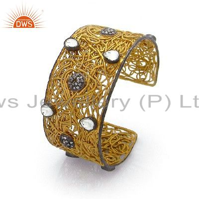 24K Gold Plated Sterling Silver Cubic Zirconia Wire Wrapped Bangle Cuff Bracelet