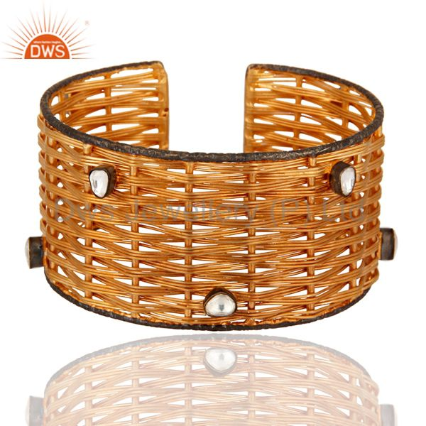18-Karat Yellow Gold Plated Over Brass Wire Weave Cuff With Crystal Polki