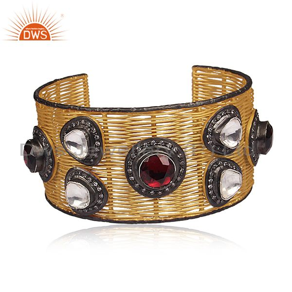 18K Yellow Gold Plated Sterling Silver Wire Woven Wide Cuff With CZ & Rhodolite