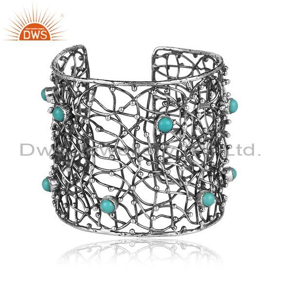 18K Yellow Gold Plated Sterling Silver Iolite Designer Wire Woven Cuff Bracelet
