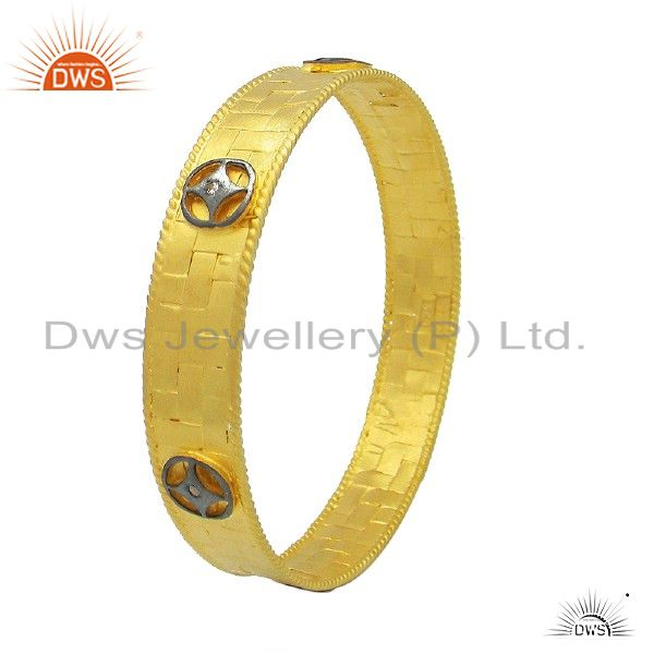24k gold plated 925 silver cubic zirconia designer bangle cuff