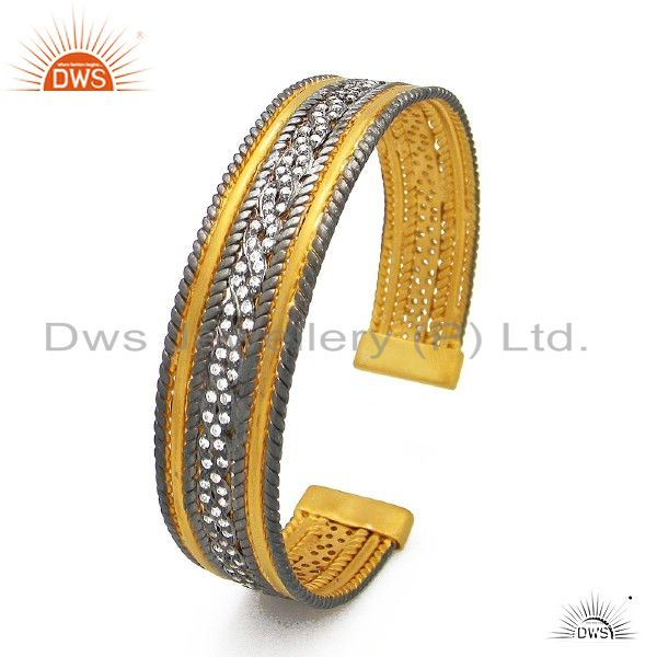Oxidized and 18k yellow gold plated sterling silver cubic zirconia cuff bracelet