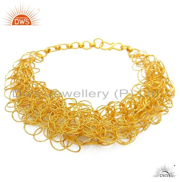 24K Yellow Gold Plated Solid Sterling Silver Wire Wrapped Link Chain Necklace