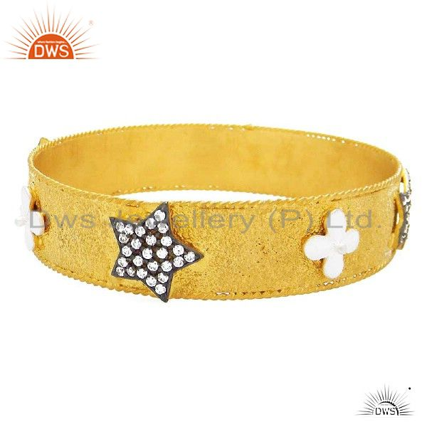 22k yellow gold plated sterling silver cubic zirconia star bangle