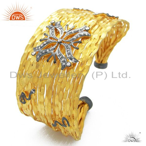 22K Yellow Gold Plated Sterling Silver Hammered Cubic Zirconia Cuff Bracelet