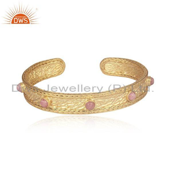 Rhodochrosite Gold On 925 Silver Designer Mesh Cuff Bangle