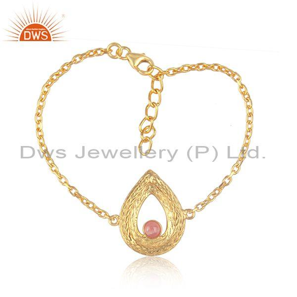 Tear drop rhodochrosite charm set gold on silver bracelet