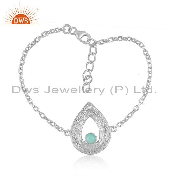 Tear drop arizona turquoise charm set fine silver bracelet