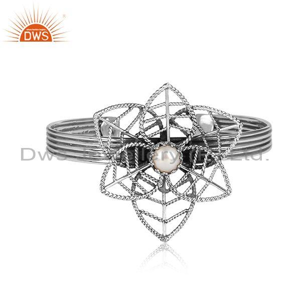Pearl set oxidized 925 sterling silver statement floral cuff