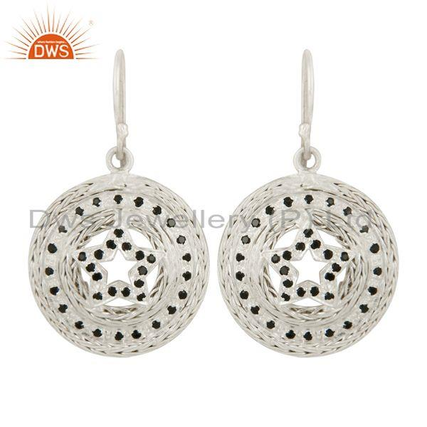 Ladies 925 Sterling Silver Black Cubic Zirconia Elegant Star Designer Earring