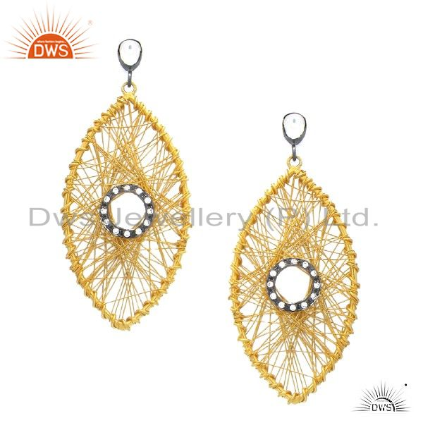 18K Gold Overlay 925 Sterling Silver Cubic Zirconia-Accent Wire Wrapped Earrings