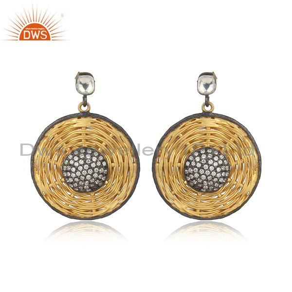 24k yellow gold plated sterling silver cubic zirconia net design disc earrings