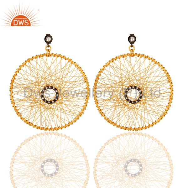 18K Gold Plated Sterling Silver Crystal & Cubic Zirconia Post Stud Earrings