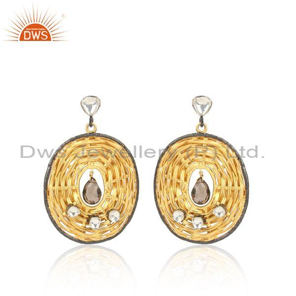 Rope style crystal quartz and smoky gold on silver earrings