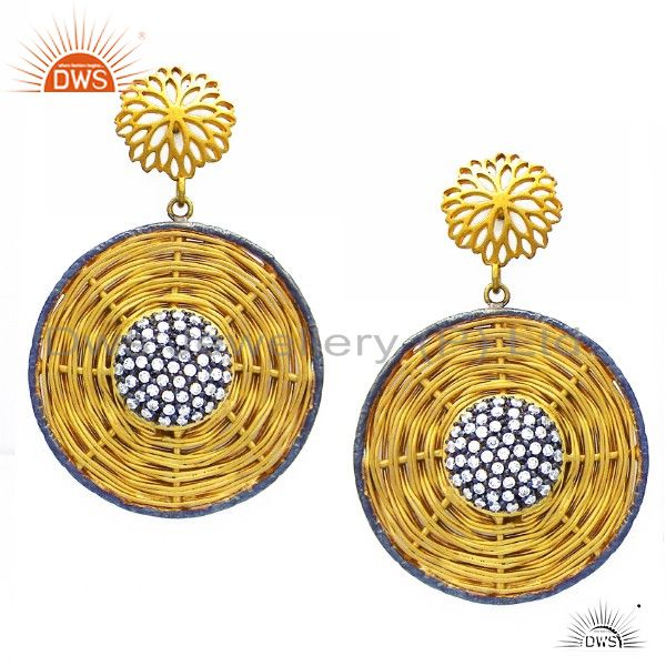 22K Yellow Gold Plated Sterling Silver Cubic Zirconia Woven Dangle Earrings