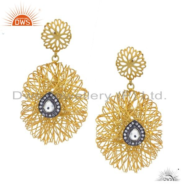 22K Yellow Gold Plated Sterling Silver CZ Polki Woven Designer Dangle Earrings