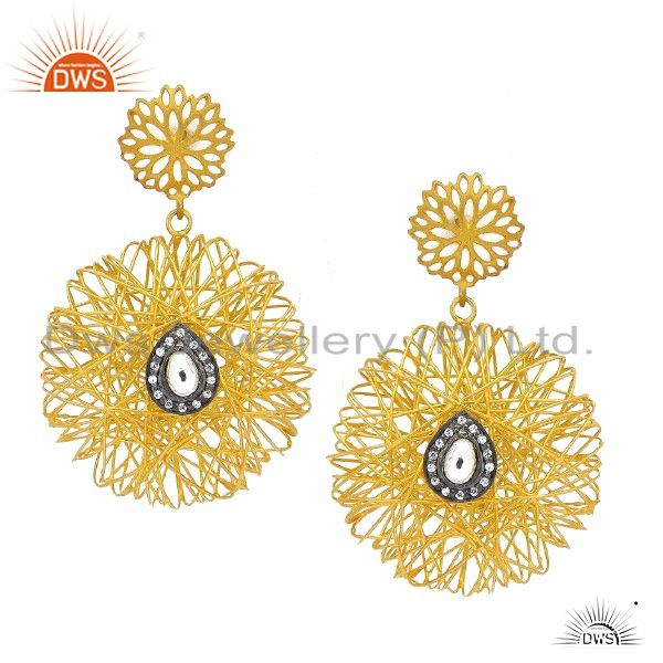 24K Yellow Gold Plated Sterling Silver CZ Polki Woven Designer Dangle Earrings