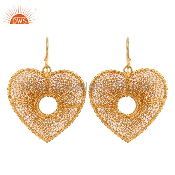 18k Yellow Gold Over 925 Sterling Silver Heart Shape Wire Wrapped Hook Earrings