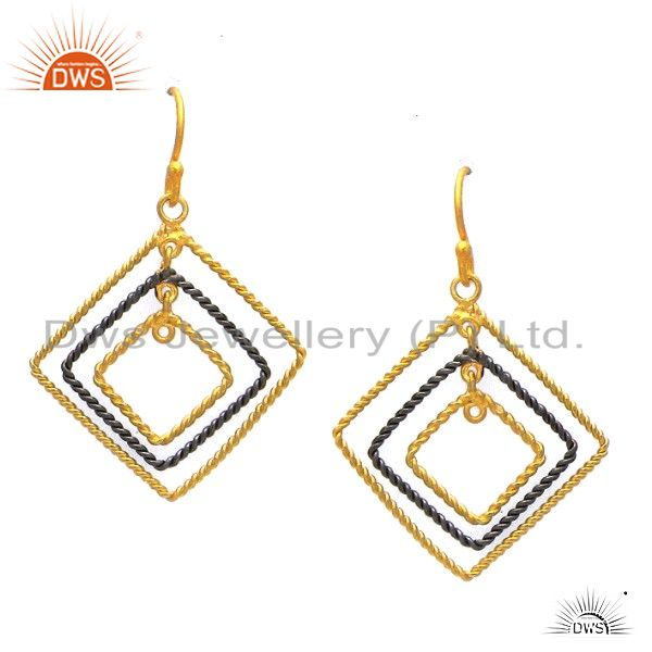 18K Yellow Gold Plated Sterling Silver Twisted Wire Designer Dangle Earrings