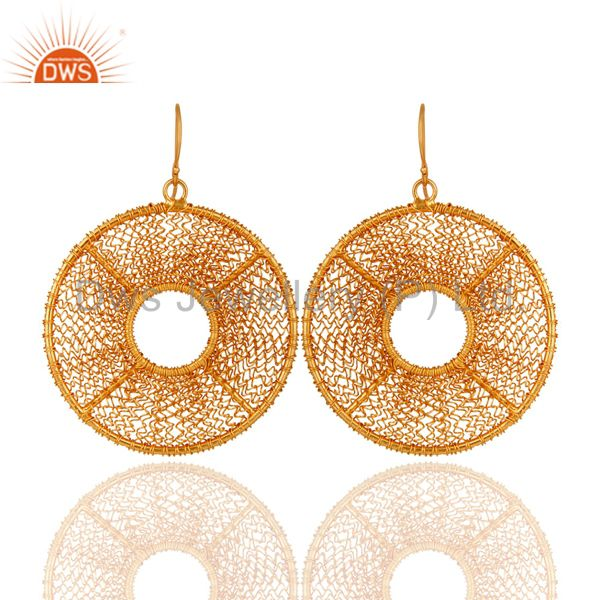 18k Yellow Gold Plated Solid 925 Silver Handmade Wire Weave Designer Hook Earri