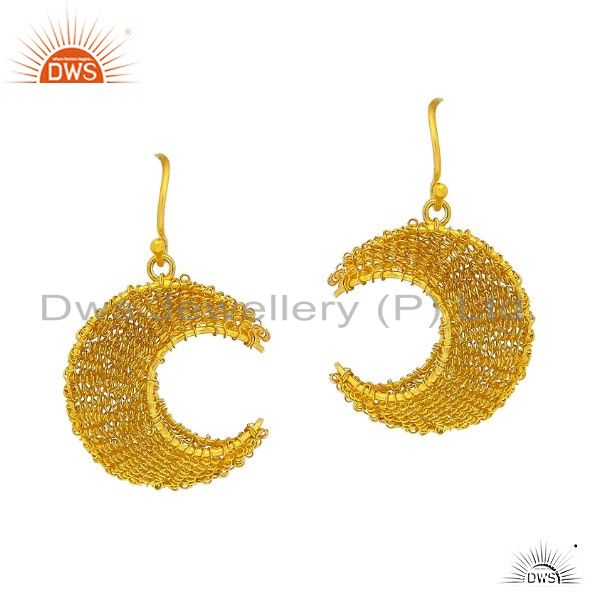18K Yellow Gold Plated Sterling Silver Wire Wrapped Crescent Moon Dangle Earring
