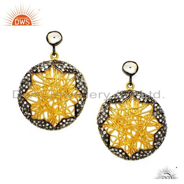 18K Yellow Gold Plated Sterling Silver Cubic Zirconia Wire Wrapped Earrings
