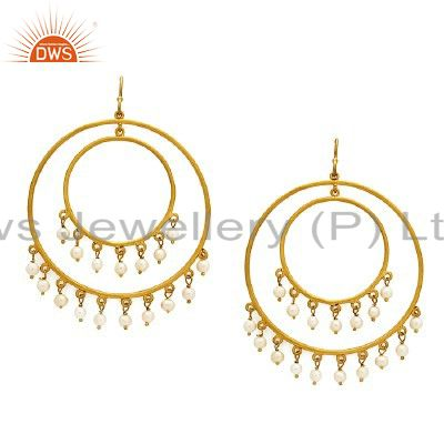 18K Yellow Gold Plated Sterling Silver Natural Pearl Multi Circle Earrings