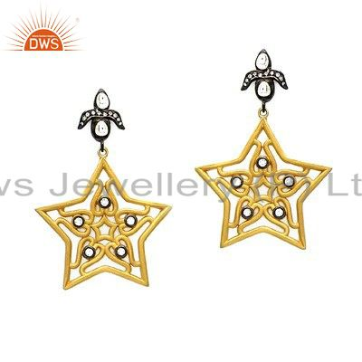 Handmade Sterling Silver Cubic Zirconia Designer Earrings With 18K Gold Plated