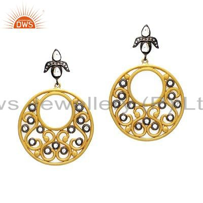 18K Yellow Gold Plated Sterling Silver Cubic Zirconia Designer Handmade Earrings