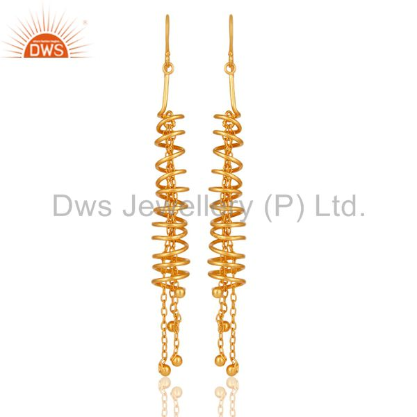 18K Gold Over 925 Sterling Silver Twisted Wire Spiral Chain Fashion Earrings