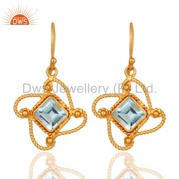 22K Yellow Gold Plated 925 Sterling Silver Blue Topaz Gemstone Handmade Earring