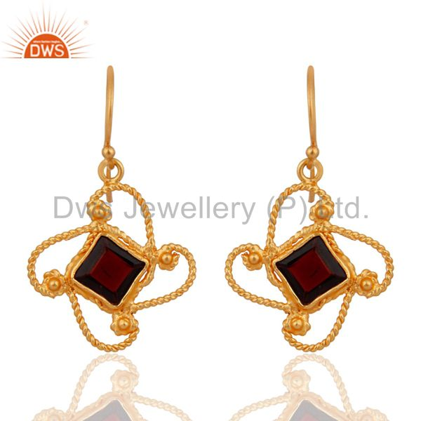 24k Gold Over Solid Sterling Silver 925 Twisted Designer Garnet Gemstone Earring