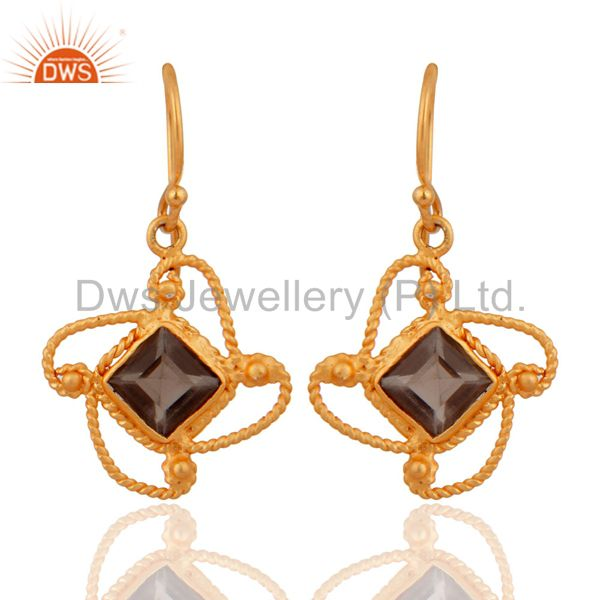 Smoky Quartz Gemstone Handmade Gold Plated 925 Silver Designer Dangle Earrings