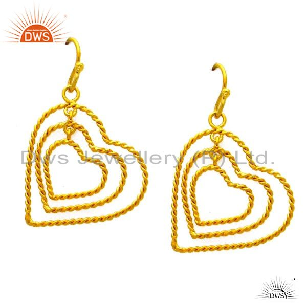 22K Yellow Gold Plated Sterling Silver Twisted Wire Heart Design Dangle Earrings