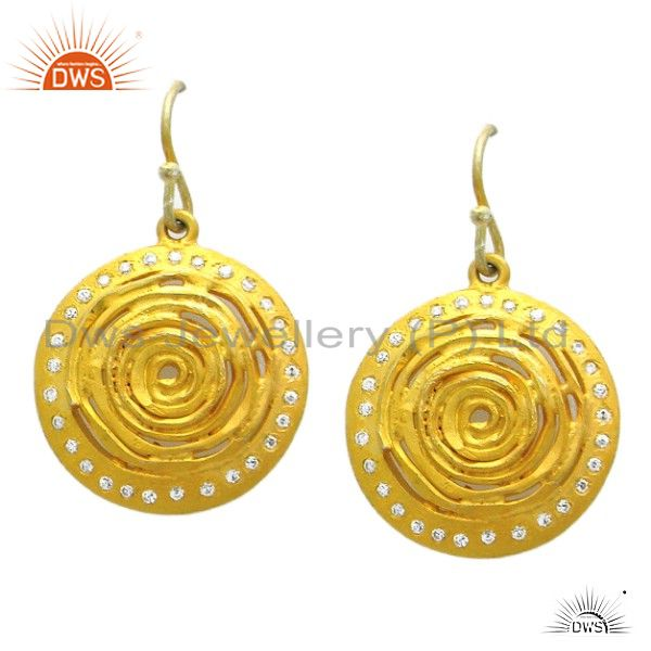 22K Yellow Gold Plated Sterling Silver Hammered Disc Dangle Earrings With CZ