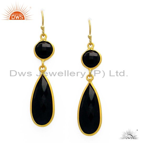 22K Yellow Gold Plated Sterling Silver Black Onyx Bezel Set Dangle Earrings