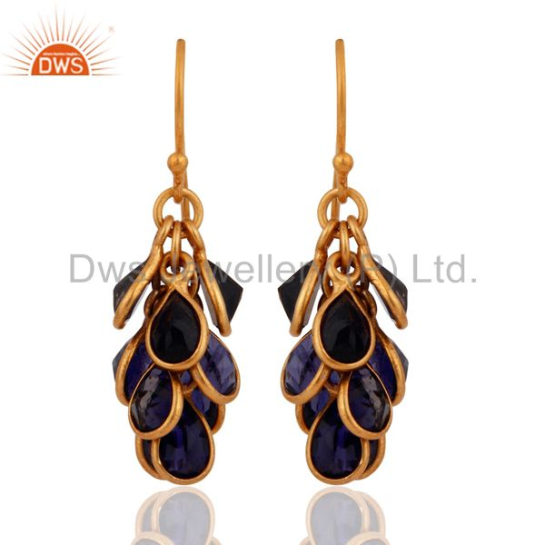 Natural Iolite Gemstone Bezel Set Chandelier Earrings in 18 Gold On 925 Silver