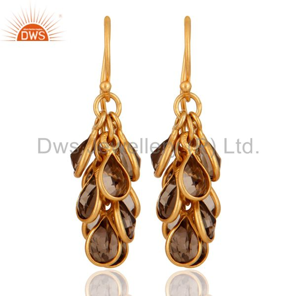 Natural Smoky Quartz Earring Yellow Gold Plated Sterling Silver Designer Jewelry
