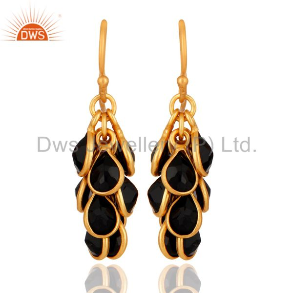 18K Gold Plated 925 Sterling Silver Black Onyx Gemstone Chandelier Earrings